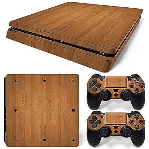PlayStation 4 Slim Designfolie Sticker Skin Set für Konsole + 2 Controller – Holzoptik 1
