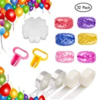 Winko Balloon Decorating Strip Kit for Arch Garland 32.8Ft Balloon Tape Strip, 2 Pcs Tying Tool, 200 Dot Glue, 20 Flower Clip ,180Ft Ribbon (32 Pack)