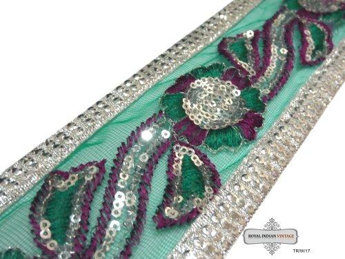 indio-elementos-decorativos-bordado-verde-sari-disenador-artesanal-frontera-decoracion-del-hogar-tel