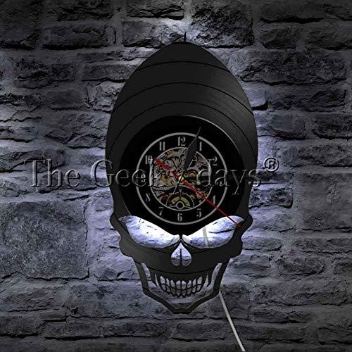CHLZYYVinyl RecordWanduhr Teufel ev Retro Clock Watch Scary Wide Wangenknochen Augen 骷髅 Vintage Vinyl Record Wanduhr Halloween Wall Decorationart Design, 12 Zoll