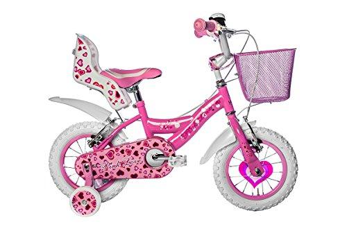Vélo Fille 12 Pouces Roues de Formation Rose Blanc