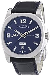 Armand Nicolet Unisex Automatic Watch with Blue Dial Analogue Display and Blue Leather Strap 9650A-BU-P965BU2
