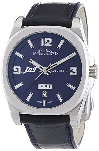 Armand Nicolet Montre Automatique Unisexe Avec Cadran Bleu Affichage analogique et bracelet en cuir bleu/9650/a-bu-p965bu2