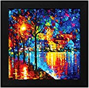 Story@Home Synthetic Wood Framed Exclusive 'Shining Trees' Modern Wall Art Painting for Decorating Liv