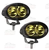 #8: Autosun 2 Pcs Of Yellow Oval Shape 20 Watt Cree Car / Bike Led Fog Light Bar Waterproof For Royal Enfield