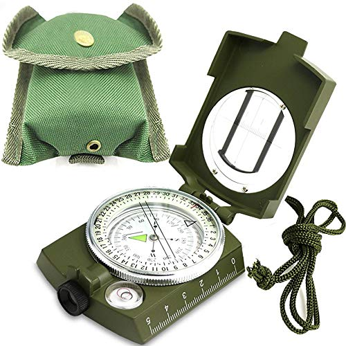 Militär Marschkompass Professioneller Taschenkompass Peilkompass Kompass mit Klinometer Tragschlaufe, Tasche