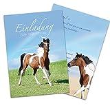 10 EINLADUNGEN zum Kindergeburtstag - Einladungskarten PAINTHORSE / PFERDE / Einladungskarten Pferd für Mädchen