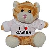 Gato marrón de peluche (llavero) con Amo Gamba en la camiseta (nombre de pila/apellido/apodo)