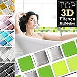 7 Stück 25,3 x 3,7 cm hellgrün grün silber Fliesenaufkleber Design 24 I 3D Mosaik Fliesenfolie Küche Bad Aufkleber Grandora W5423