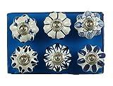 JGART - Pomos de cerámica (6 unidades), diseño indio, color azul y blanco