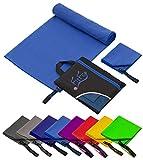 Fit-Flip Set: 70x140cm + 30x50cm + Tasche/Blau, Microfaser...