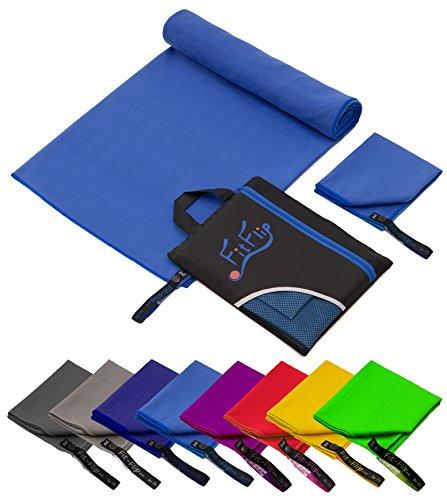 Fit-Flip 100x200cm - 1 Stück/Blau, Schnelltrocknende handtücher schnelltrocken handtücher schnelltrocknendes Badetuch schnelltrockenes Handtuch Schnell Trocken hantücher (Badetücher)