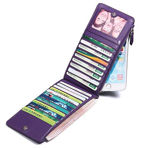 Oneworld Herren Rindleder Kartenetui Universalbörse KreditKartenetui Universalbörse Kreditkartenhüllen Mit 22 Kartenfächer Geldbörse Börse Geldbeutel Geldtasche Portemonnaie 18.5x9.5x1cm(BxHxT) Violet Violett