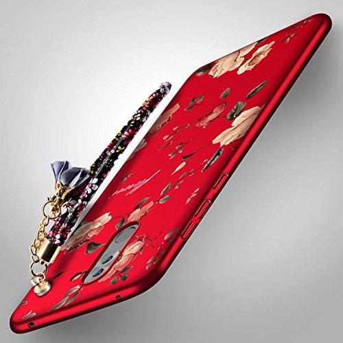 Coque pour Honor 6X Ultra-Fine et Anti-Rayures Transparente,Housse pour Honor 6X Matière anti-dérapante Coque Très mince Non Slip Surface antichoc Hard PC Matière avec [Protecteur d'écran] [Ultra Minc Rouge Peony