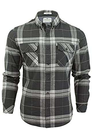 Crosshatch Mens Mitty Checked Long Sleeved Shirt - Magnet - Large