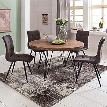 Esstisch rund Holz massiv Metall Tischplatte Mangoholz