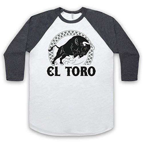 El Toro Spanish Bull 3/4 Hulse Retro Baseball T-Shirt Weis & Dunkelgrau
