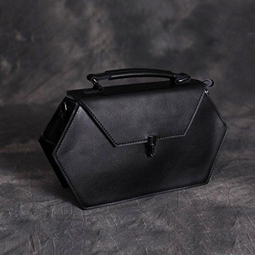 Presentski Handgefertigte echtes Leder Sechseck Cross-Body einzigen Schultertaschen Schwarz Farbe Schwarz
