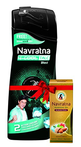 Navratna I-Cool Talc Blast, 400g with Free Navratna Almond Cool Oil, 50ml