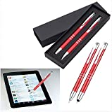 Metall Schreibset - Kugelschreiber mit Touch Pen + Druckbleistift - verschiedene Farben wählbar - Schule Beruf Büro Business Haushalt #2885 (rot)