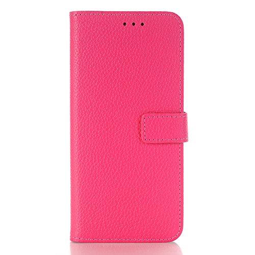 Galaxy S9 Plus Hülle Leder, elecfan Premium Kunstleder Brieftasche Trifold Flip Leichtgewicht Handy Schutzhülle Case Cover Handyhüllen mit Kartenfächer für Samsung Galaxy S9 (Rosa) (Handtasche Leder Tri-fold)