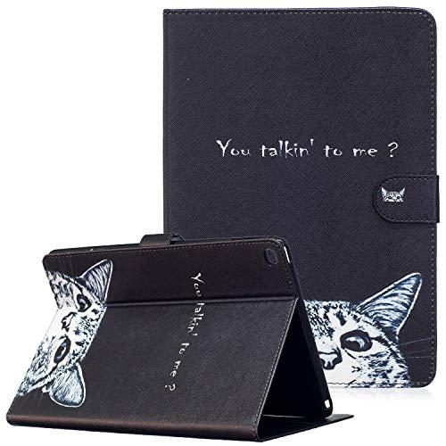 iPad Air 2 Hülle,FNBK iPad Air 2 PU Ledertasche Flip Case Schutzhülle Cover Business Tasche Etui Ständer Eingebautem Magnet Leder Smart Cover Lederhülle für Apple iPad Air 2,Neugierige Katze