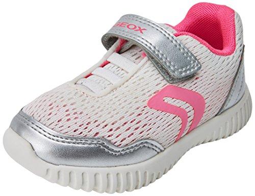 Geox Baby Mädchen B Waviness Girl B Sneaker, Silber (White/Silver), 21 EU