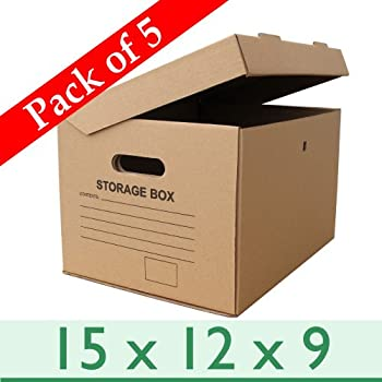A4 Cardboard Archive Filing Storage Boxes - Pack of 5 - 390mm (L) x 304mm (W) x 238mm (H)