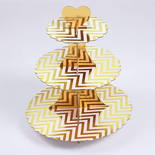 Tortenständer Dekoration Einweg faltbar 3-lagig Dessert Halter Hochzeit Display Regal Party Papier Geburtstag, Gold Wave-1 Pc, Free Size -