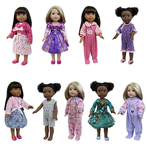 ZITA ELEMENT 6er Puppen Kleidung Kleid für 35cm-38cm Babypuppen und 14/15 Zoll American Girl Doll Abendkleid Bekleidung Mädchen Spielzeug Puppenkleid