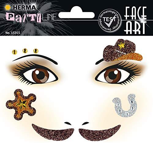 HERMA 15315 Face Art Cowboy Gesicht Aufkleber Glitzer Sticker für Fasching, Karneval, Halloween, dermatologisch getestet