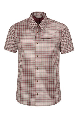 Mountain Warehouse Holiday Mens Cotton Shirt - Easy Care Summer Shirt, Lightweight Casual Shirt, Mesh Lining Top - for Travelling, Camping & Hiking
