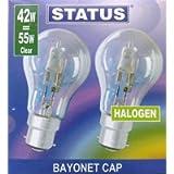 2 Pack STATUS 42W (=55W-60W) BC B22 B22d GLS Eco Halogen Classic Energy Saving Light Bulbs, Dimmable Lamps, Bayonet Cap…