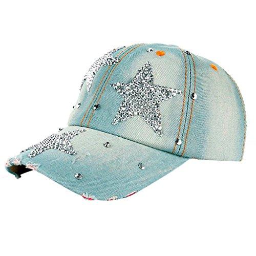 Sonnenschutz Kopf Herren Damen,OYSOHE Neueste Frauen Männer Sterne Denim Strass Baseballmütze Outdoor Hut Snapback Hip Hop Flachen Hut