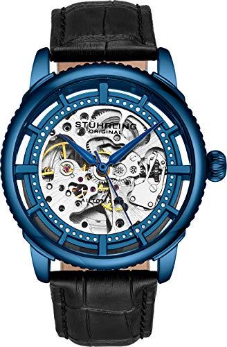 Stuhrling Original Herrenuhr, Skeleton Zifferblatt mit Lederband, Serie 3933 (Blue)