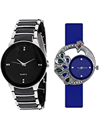 SPINOZA Analogue Multi-Colour Silver Black And Blue Diamond Studded Peacock Watch For Men Boy Girls And Women