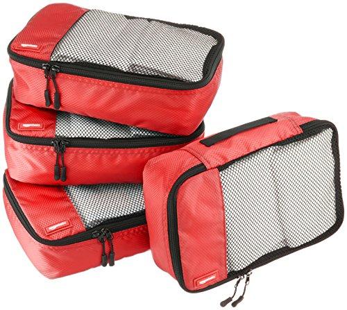 AmazonBasics Lot de 4sacoches de rangement pour bagage TailleS, Rouge