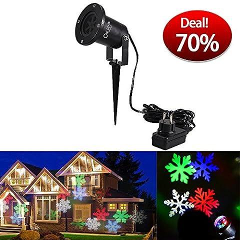 CroLED Wasserdicht LED Schneeflocke Projektor Weihnachtsbeleuchtung Gartenleuchte Outdoor Gartenstrahler Outdoor