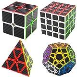 Puzzle Cubes Megaminx + Pyraminx + 2x2x2 + 4x4x4 4 Pack Coolzon Cubo Magico con Pegatina de Fibra de Carbono Velocidad
