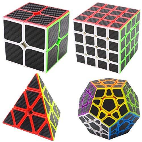 Zauberwürfel Bundle Pyraminx, Megaminix,2x2x2,4x4x4 4 Pack Coolzon® Speed Cube Würfel Carbon Faser Aufkleber Neue Geschwindigkeits Super Schnell und Glatt