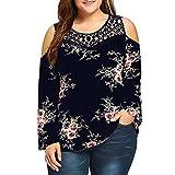 VJGOAL Damen Bluse, Damen Mode Plus Size Spitze Cold Shoulder Floral Gedruckt lose O-Neck Party Bluse T-Shirt Tops (Marine, 40)