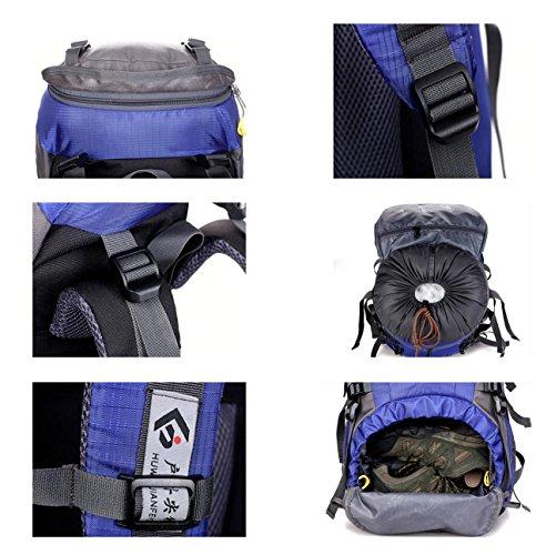 50L Bergsteigen Rucksack mit Regen Abdeckung Nylon leichte tragbare Tasche für Camping Wandern unterwegs Reiten H60 x L30 x T20 cm Orange