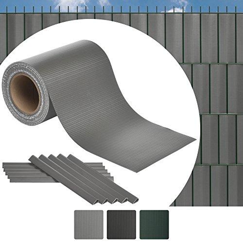 Sol Royal 35m Zaun Sichtschutzstreifen SolVision ST6 - PVC Sichtschutz Doppelstabmatten-Zaun in Hell-Grau Inkl. 25 Clips