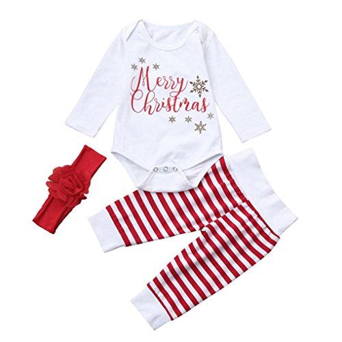 Säuglingsbaby Mädchen Jungen *A Christmas Miracle* Brief Hirsch Romper Strampler Tops + Hosen + Hut Weihnachten Kleidung Satz?9 Monate,B-Weiß) (Chucks Kleidung)