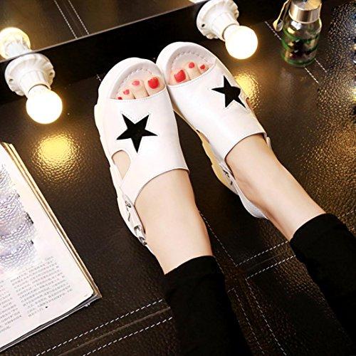Sternmuster Sandalen, Kaiki Frauen fischen Mund Casual Schuhe Platform Wedges Fünf-Sterne Sandalen Schuhe White