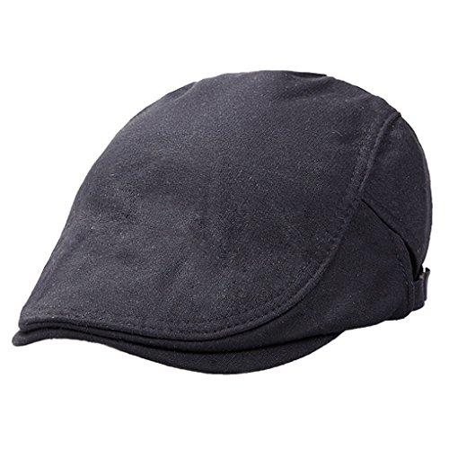 Panegy - Sombrero de Boina Bombines con Visera Corta Beret Gorro Gorra de Boina de Hombre para Golf Taxista Casquillo Caballero Vintage - Negro