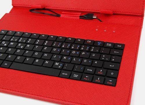 10 Zoll Hülle mit QWERTZ-Tastatur für SAMSUNG Galaxy Tab 4 10.1 (SM-T535) Tablet PCs (ROT) - 4