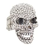 Totenkopf Ring - Fingerring mit Strass Besatz in Scull Head Design silber