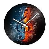 AIYOUBU Note De Musique Record Vinyle Horloge Vintage Horloge Murale + Mécanisme...