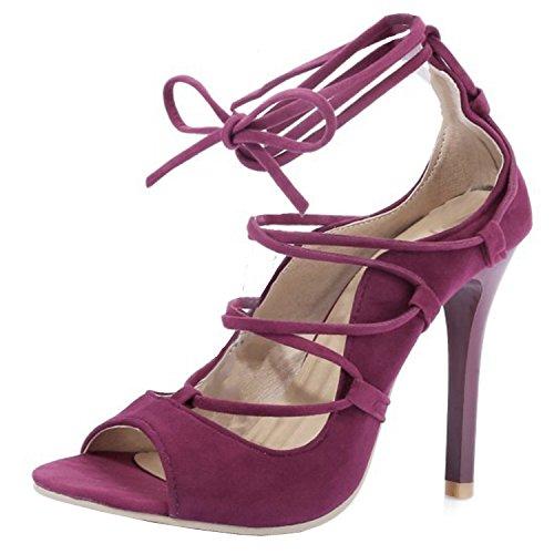 Oasap Women's Peep Toe Lace-up Stiletto Gladiator Sandals Purple